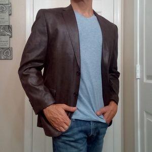 Calvin Klein fauxleather brown Blazer Coat 40S New